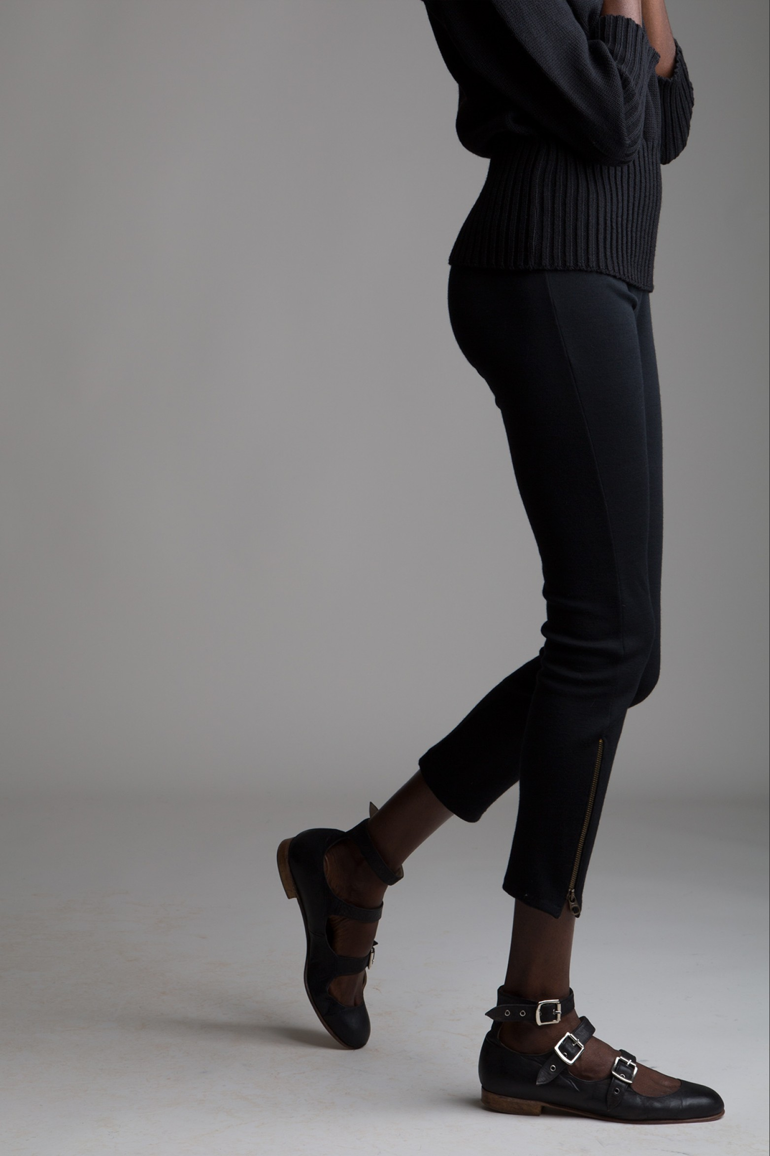 Black Wool Leggings