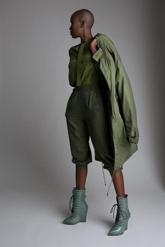 Vintage Army Green Wool Gauchos