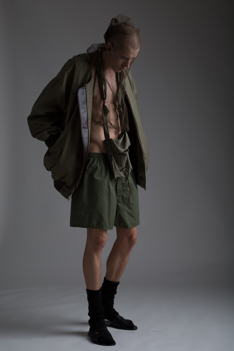 Hed Mayner Oversized Bomber, Military Surplus Shorts and Bag